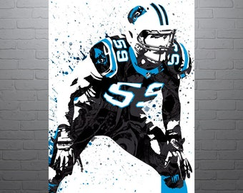 Luke Kuechly Carolina Panthers, Sports Art Print, Football Poster, Kids Decor, Watercolor Contemporary Abstract Drawing Print, Modern Art