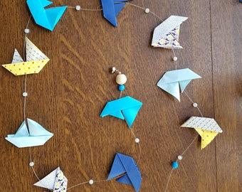 Garland origami boats sail