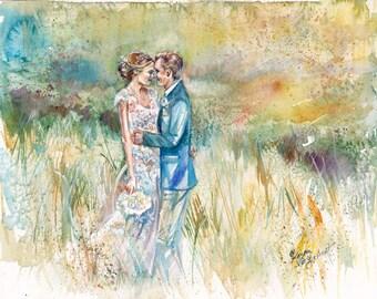 1 Year Anniversary Gift for Him - custom painting from photo - watercolor - anniversary gift - watercolor wall art - original watercolor art