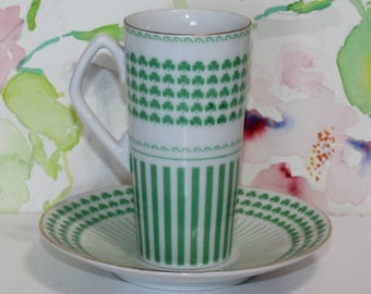 Pretty Vintage Shamrock Green and White Demitasse Espresso Cup and Saucer Set Neiman Marcus