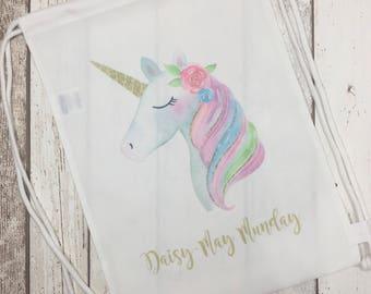 Personalised unicorn bag, school, swimming, preschool bag, gift, present