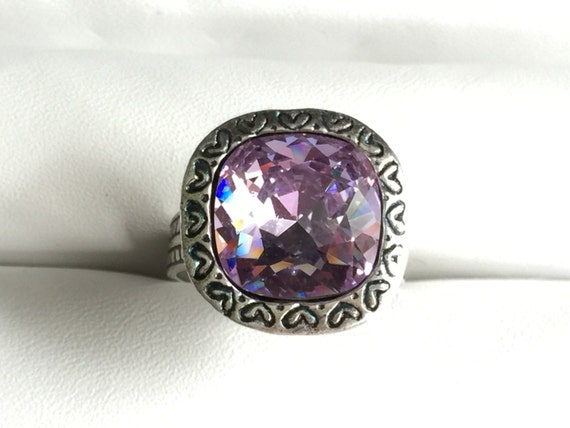 Swarovski Violet Ring,  Violet Crystal Ring, Swarovski Violet Crystal Ring, Swarovski Purple Crystal Ring