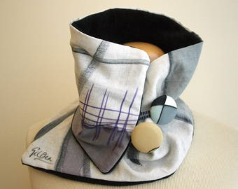 Hand painted Linen & Cotton. Neck Warmer-Fleece. 28x7 in. Ideas for her. Scarf neck warmer. Handpainted.Brithday gift