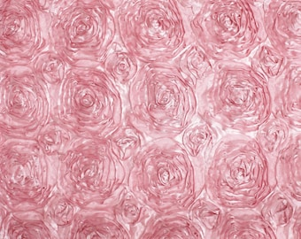 "Satin ROSETTE  ROSE  Fabric / 54"" Wide / Sold by the Yard"