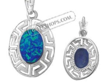 Sterling Silver Rhodium Plated Pendant - Greek Key & Opal (21mm)