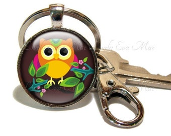 Owl Keychain, Owl Key Chain, Owl Key Ring, Owl Key Fob, Brown Keychain, Keychain with Clip, Key Fob with Clasp, Small Gift, Gifts under 10
