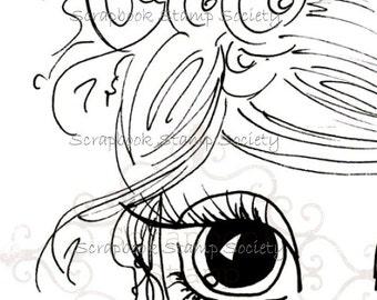 INSTANT DOWNLOAD Digital Digi Stamps Big Eye Big Head Dolls Digi  Pretty Little Girl By Sherri Baldy