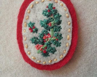 Holly Branch - Protection (Patch, Pin, Brooch, or Magnet)