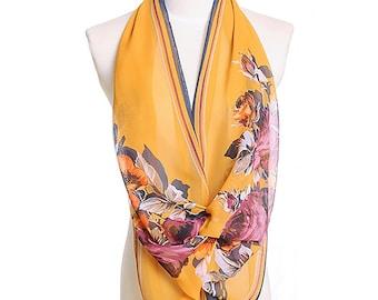 Womens Scarf, Yellow Scarf,  Floral Print Scarf, Fashion Scarf, Chiffon Scarf, Voile Scarf, Cotton Scarf, Womans Scarf