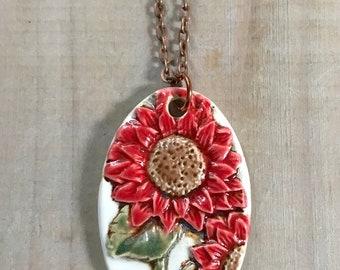 Daisy Pendant Necklace-Ceramic Jewelry-Kim OHara Designs-Ceramic Jewelry