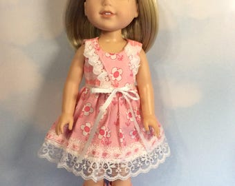 "Lace pink flower dress fits 14.5"" Wellie Wishers doll"