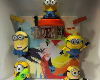 MINIONS, Boys Room, Dreams, Picture frame, original art, one of a kind