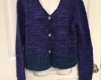 Handmade wool cardigan sweater M
