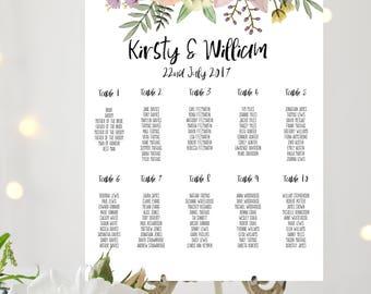 Floral BOHO Personalised Printable Wedding Table Plan, Downloadable Seating Chart, Digital download, custom print PDF poster seating plan
