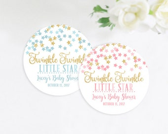 Twinkle Twinkle Little Star Baby Shower Favor Stickers, Baby Shower Favor Tags, Pink and Gold, Blue and Gold, 2 Inch Stickers