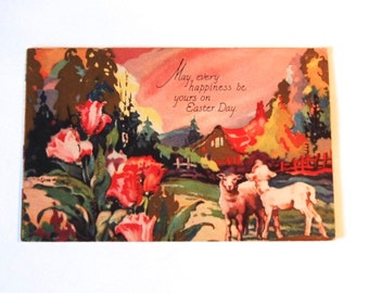 Vintage Art Deco Easter Lambs Post Card, Art Deco with Glitter