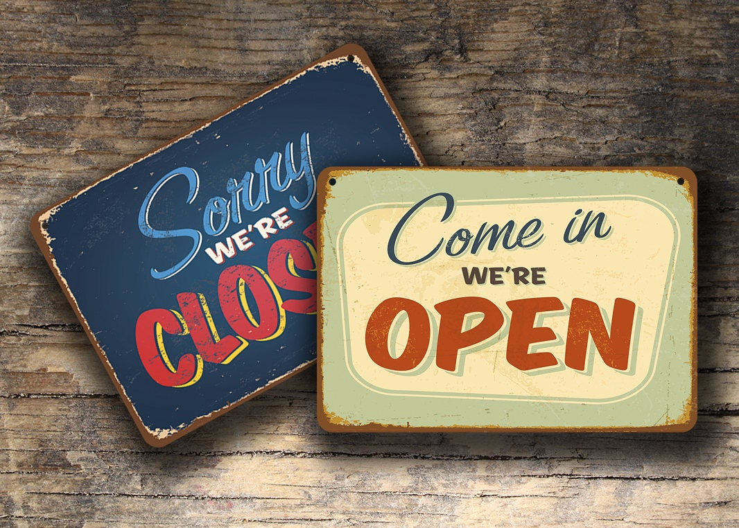 OPEN CLOSED SIGN Vintage Style Open Closed Sign Open Closed