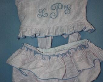 Monogram Seersucker swimsuit for your Little Girl  1 piece  2 piece navy red green pink light blu aque
