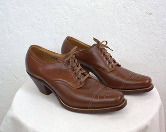"On Sale! 1920's ""Florsheim"" Men's Brown Leather Shoes / Men's Size: 8"