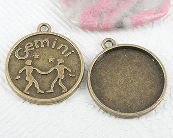 12pc antiqued bronze tone Gemini constellation cabochon setting EF0925