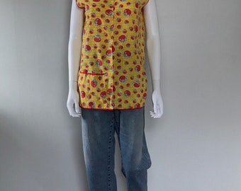1970s Apple Smock Teachers Artist Smock Cover Up Apron