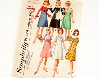 """Vintage 1960s Girls Size 8 Sub-Teen One Piece Dress with Detachable Collar Simplicity 6260 Sewing Pattern Complete, b28 w23"""""""