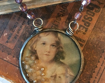 Soldered Bezel Resin Necklace with Little Butterfly Girl and  Handpainted Background NR-019