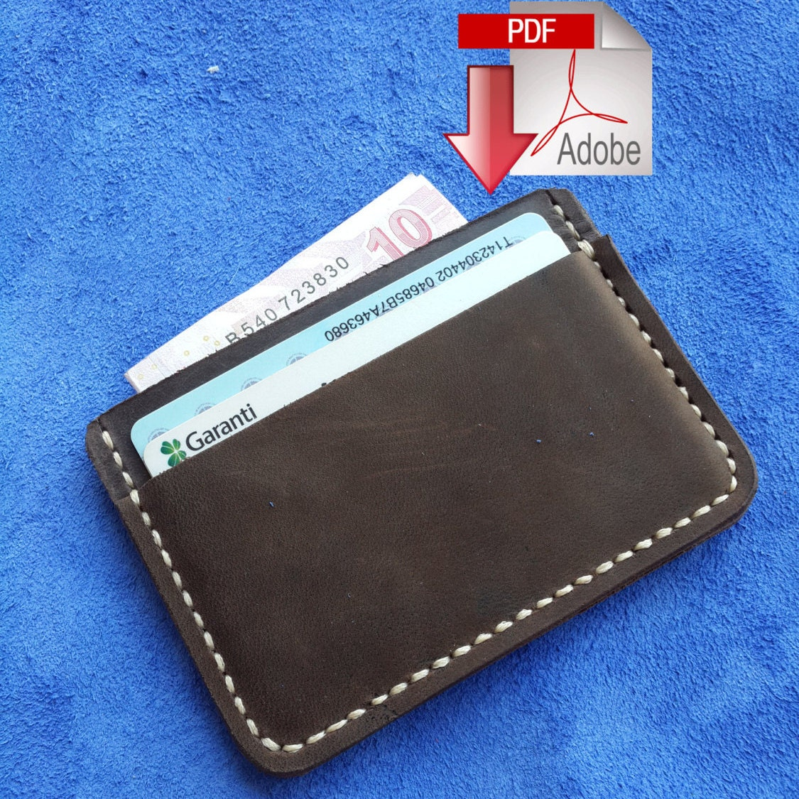 Leather card holder 3 pocket digital pdf template a zoom pronofoot35fo Images
