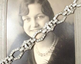 ORIGINAL Art Deco Rhinestone Bracelet, Antique 1930 Flapper Jewelry Something Old Pave Crystal Vintage Silver Paste Link Bridal Bracelet