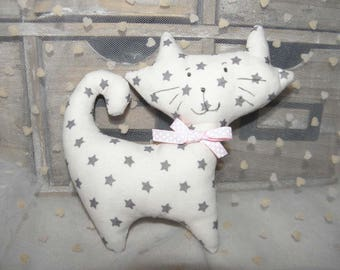 Cuddly cat fabric with stars for children and babies