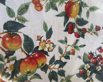 Cotton curtain 1980s french vintage fabric curtain panel fruit strawberries apples cherries