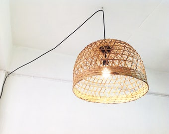 Holiday Gifts Plug In Pendant Light,bedroom Chandeliers Bamboo Basket Pendant  Lighting Size 45cm.