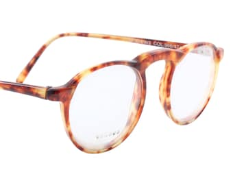 Versus by Gianni Versace retro styled round tortoise eyeglasses with high brass bridge, NOS 1980s
