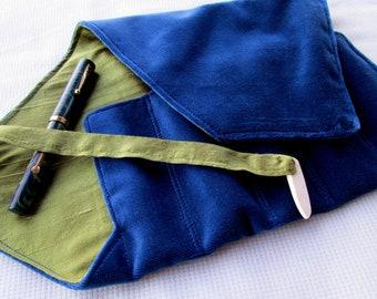 Velvet and Silk Five-Pen Wrap, Pen Roll, Pen Case