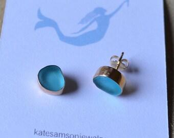 Gold Bezel Genuine Sea Glass Stud Earrings