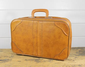 Vintage Brown Carry On Bag Suitcase Luggage, Brown Carry On, Carry On Bag, Carry On Luggage, Soft Carry On, Vintage Luggage