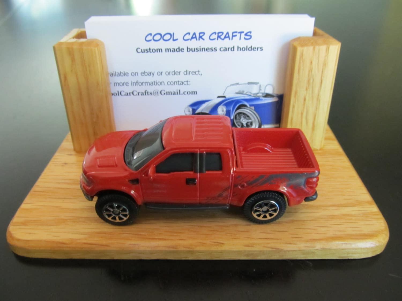 Ford F 150 Raptor business card holder oak wood desk sales