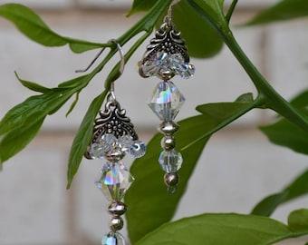 Earrings-Hand Made Jewelry-Sterling Silver Earrings-Swarovski Crystal Earrings
