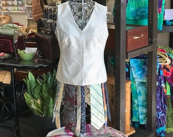 Altered Couture Vest, UpCycled Gold Waistcoat with Ties, Size Small Flouncy Dress