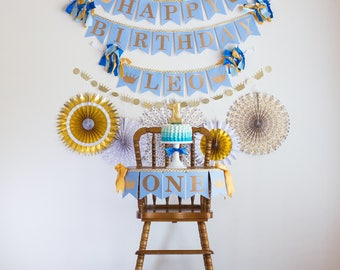 1st Birthday Boy LITTLE PRINCE BIRTHDAY Banner / First Birthday Boy Highchair / Happy Birthday Banner / Little Prince baby shower / Banner