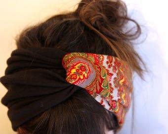 Retro two-tone Brown and Orange Turquoise Brown Cashmere headband-Turban headband