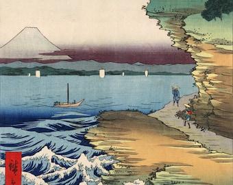 Japanese Art. Fine Art Reproduction. Hiroshige - 36 Views of Mt. Fuji. The Coastline at Hota in Boshu, 1858