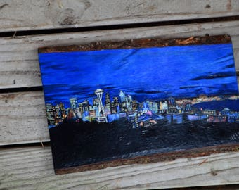 """Wood Burning and Colored Pencil, Seattle Skyline, """"Nightscape"""""""