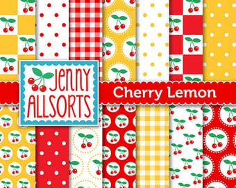 Cherries & Lemon Digital Scrapbooking Paper Pack 14 printable pages Instant download, digital paper tags cards invites background papercraft