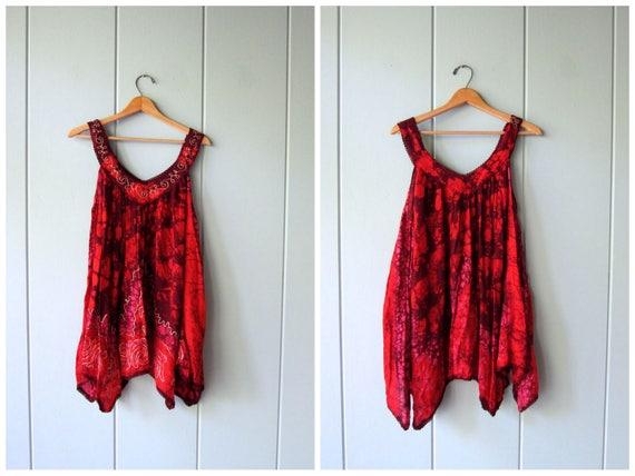 Boho Embroidered Mini Dress Indian Festival Sundress Vintage 90s Tunic Top Gypsy Hippie Tank Dress Womens Medium Large