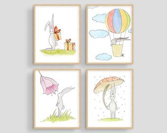 Set of 4 Rabbit Prints Wall Art, Nursery Animal Decor, Easter Decoration, Bunny Watercolor, Baby Animal Prints, Bunny Art