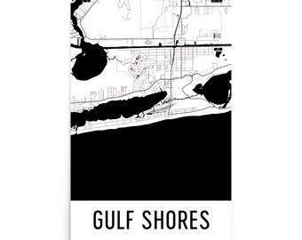 Gulf Shores Map, Gulf Shores Art, Gulf Shores Print, Gulf Shores AL Poster, Gulf Shores Wall Art, Map of Gulf Shores, Gulf Shores Gift Decor