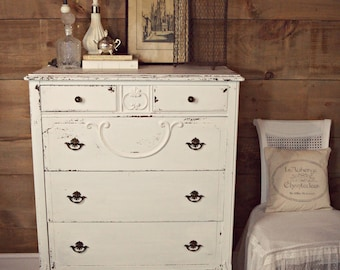 SOLD | Antique white shabby chic chippy painted dresser, white antique milk-painted dresser, chippy white tallboy dresser, shabby chic