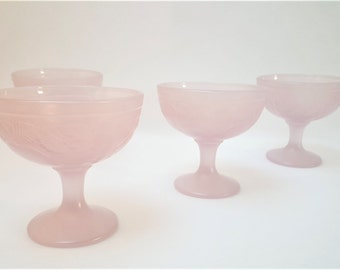 Pink ice cream Cups , sorbet , Dessert , French Table , 80s , Vintage  made in France