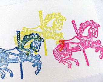 Hand Carved Rubber Stamp, Merry-Go-Round (Carousel)